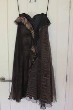 Fenn Wright Manson Silk Dress Black And Pink Spots Size 14 Brand New RRP £175