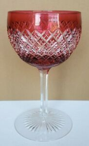 Antique ABP Cranberry Red Cut to Clear Wine Hock Stem Strawberry Diamond Glass