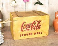 Coca-Cola Vintage Style Storage Wooden Chest/Box/Trunk with Lid and Rope Handles