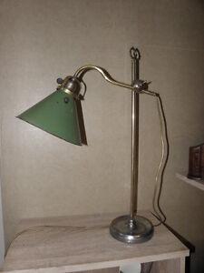 primitive desk lamp brass iron Enamelled Arm light arms century bauhaus antique