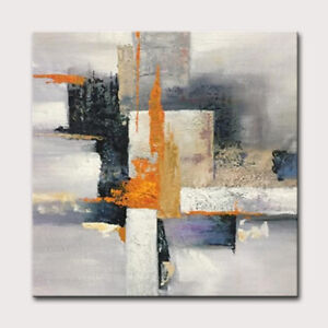 Mintura Hand Painted Oil Painting on Canva Abstract Rectangle Diagram Home Decor