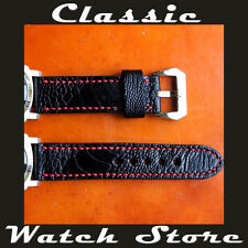 Ostrich Leather Handmade 24mm Watch Strap To Suit Panerai etc. Black / Red
