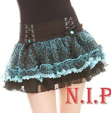 Tripp Turquoise Leopard Lace up Tutu Skirt Goth Punk Tulle Pettiskirt Hot Topic