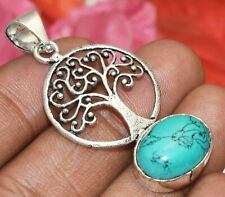 925 Silver Plated U311-A180 Turquoise Gemstone Pendant Tree Style