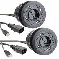 USB-Hub-Steckdosen: 2er-Set aktive 3-fach-USB-2.0-Hubs für Tisch-Einbau