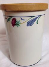 """LENOX CHINASTONE  """"POPPIES ON BLUE""""  MEDIUM SIZE CANISTER W/ WOODEN TOP"""
