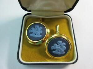 Vintage WEDGWOOD Two tone BLUE JASPER WARE CAMEO CUFFLINKS - Boxed!