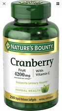Nature's Bounty Cranberry Fruit 4200mg with Vitamin C Herbal Health 250 Softgels