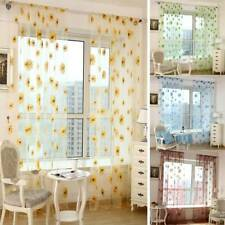 Sheer Sunflower Net Voile Window Curtains Sheer Tulle Drape Bedroom Decoration