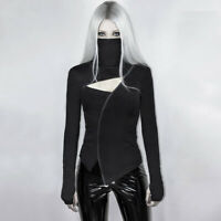 Women Patchwork Gothic T shirt Harajuku Halloween Hollow Splice Zipper Tops NT