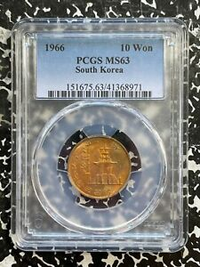 1966 Korea 10 Won PCGS MS63 Lot#A824 Choice UNC!