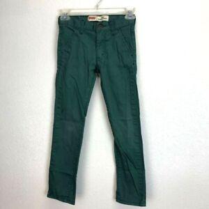 Levi's 510 Super Skinny Unisex Kids Pants Green Casual Stretch 8 Reg 24x22