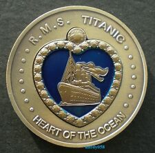 """💘 RMS Titanic """"Heart of the Ocean"""" large coin Bronze Plated"""