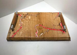 Vassoio in rovere - Eff. Litchengberg - Resina epossidica - 28cm x 19 cm spe 2cm