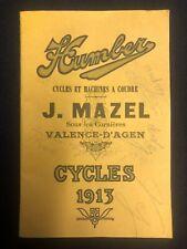 Vintage Bicycle - Humber Cycles Catalogue - 1913 - J.Mazel - Paris