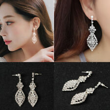 Silver Nice Crystal Drop Earrings Diamante Bridal Chandelier Rhinestone Dangle