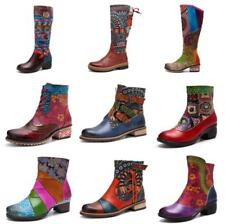 CHIC Genuine Leather Women Handmade Block Zipper Boots Ankle Splicing Shoes