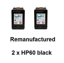 2x HP60 (CC640WA) black ink cartridges for HP D2660, F2480,F4230,F4470,Envy 120