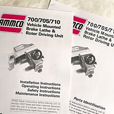 Ammco Operating Installation And Parts Manuals 700 705 710 Otc Brake Lathes