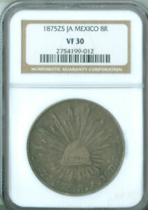 1875 Zs,JA Mexico 8 Reales Coin NGC VF-30 FREE S/H (2127059)