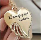 Angel Wing Heart Love Diamond Letter Pendant Necklace Words: