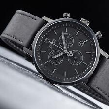 DeTomaso Herrenuhr MILANO Chronograph Black Leather Dt1052-q