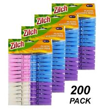 200 x Coloured Plastic Clothes Pegs - 7cm Normal Size Laundry Clothesline