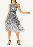 COAST AALIAH SILVER BLACK SHEER LACE 50'S FIT N FLARE MIDI DRESS 10 £169 PERFECT