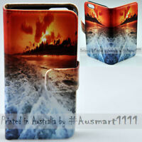 For Apple iPhone Series - Wave Sunset Print Wallet Mobile Phone Case Cover