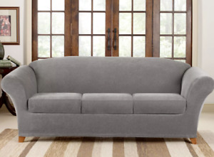 Stretch Pique 4 piece stretch Sofa Slipcover Gray by sure fit washable