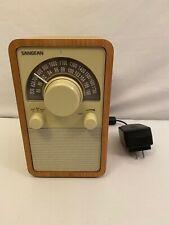 SANGEAN FM/AM RECEIVER WR-15 WOODEN CABINET WALNUT WR-15 TABLE TOP RADIO