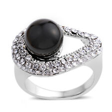BLACK PEARL GLASS PEARL AUSTRIAN CRYSTAL ACCENT STAINLESS STEEL RING SIZE 8.5
