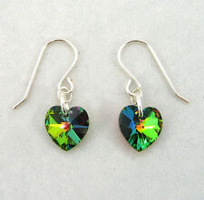 Sterling Silver Drop Earrings wth SWAROVSKI ELEMENT Crystal Heart Vitrail Medium