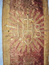 ANCIEN PIÈCE D'ORNEMENT RELIGIEUSE/BROCART BRODERIE FILS  MÉTALLIQUE OR/L.106 cm