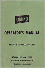 Hardinge Model Hc And Hc R Operators Manual