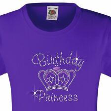 """GIRL's T-Shirt (12 COLORI Opzioni) con strass """"Principessa Compleanno"""" 3-15 anni"""