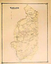 ANTIQUE CITY MAP OF WAYLAND. MASSACHUSETTS.  1870-1875. SCARCE. FRAMEABLE
