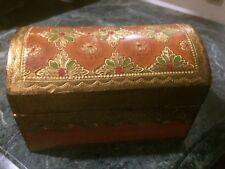 Vintage Italian Florentine Tole Gilt Wood  Trinket / Jewelry Box Domed Top