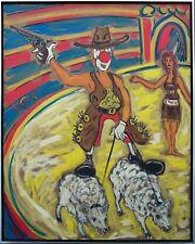 Felix Samuel Pfefferkorn *1945: Clown riding sheep Zirkusbild 120 x 100 cm 1977