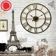 LARGE Metal Wrought Iron WALL CLOCK French Provincial Roman Numerals Bronze