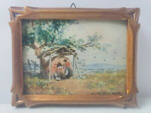 Genuine Willard M. Mitchell Canadian Water Color Hand Carved Frame Miniature