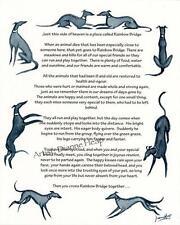 Rainbow Bridge poème Greyhound Whippet Lurcher 7032 Dianne tas condoléances perte