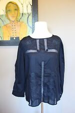 NWT J Crew Embroidered Lace Top in NAVY Sz 8 Medium B9903 $98