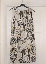 Size 8/10 Peacocks Evie White Black leaf print linen mix Summer Shift Dress
