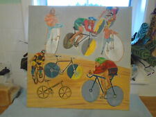 Vintage Oil Painting Signed Bryce Featuring Cyclists & Bycicles