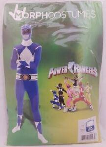 Adult Power Rangers Morphsuit Fancy Dress Costume Blue Bodysuit New