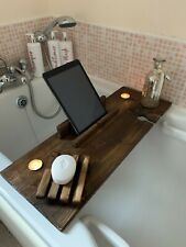 Wooden Bath Caddy & Soap Dish with Wine Holder, Tablet / Book Support & Candles