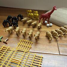 Plastic Jungle Animals Toys Giraffe Lion Rino Elephant Gorilla Fence Feet Box 31