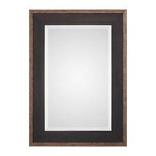"Rustic Black Bronze Classic Pine Wood Wall Mirror | 42"" Vanity Textured Mesh"