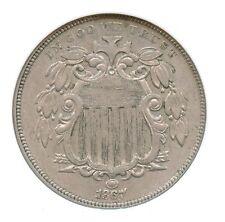 1867 With Rays, Shield Nickel, NGC AU 55